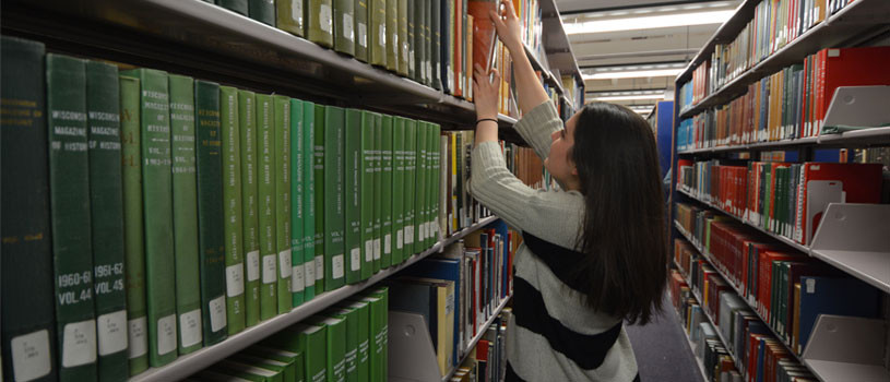 Patron using State Historical Research Center