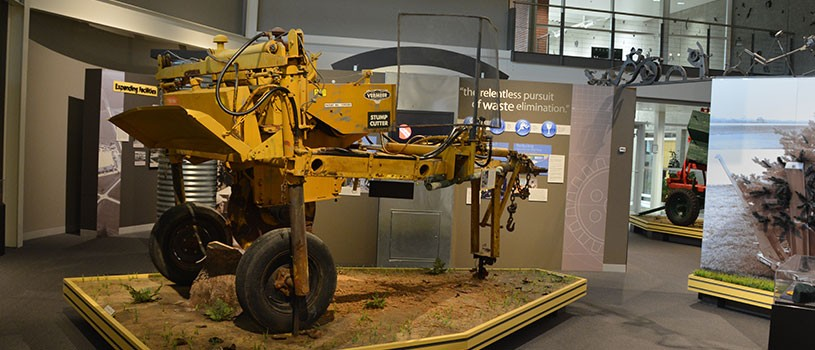 A machine made by the Vermeer Corporation of Pella for grinding and removing tree stumps.