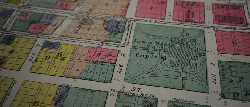 Historic map of Des Moines, Iowa