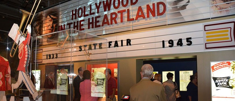 Hollywood in the Heartland exhibit resembling old theatre marque
